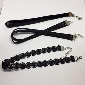 Bundle of three black chokers